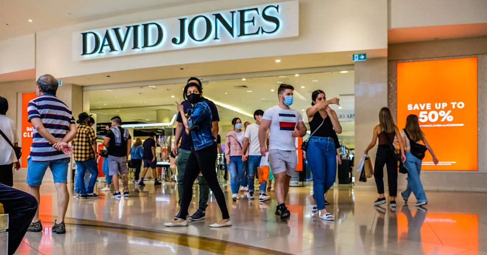 People walk in and out of David Jones store
