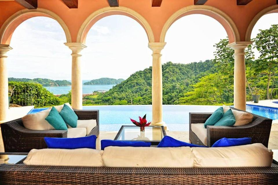 """<p>A pool that makes up a view so beautiful, you may want to stare at it rather than swim.<br></p><p>Book via: <a href=""""https://www.airbnb.co.uk/rooms/18158698?adults=1&children=0&infants=0&location=Costa%20Rica&s=ge_rSu3o"""" rel=""""nofollow noopener"""" target=""""_blank"""" data-ylk=""""slk:Airbnb"""" class=""""link rapid-noclick-resp"""">Airbnb</a></p>"""