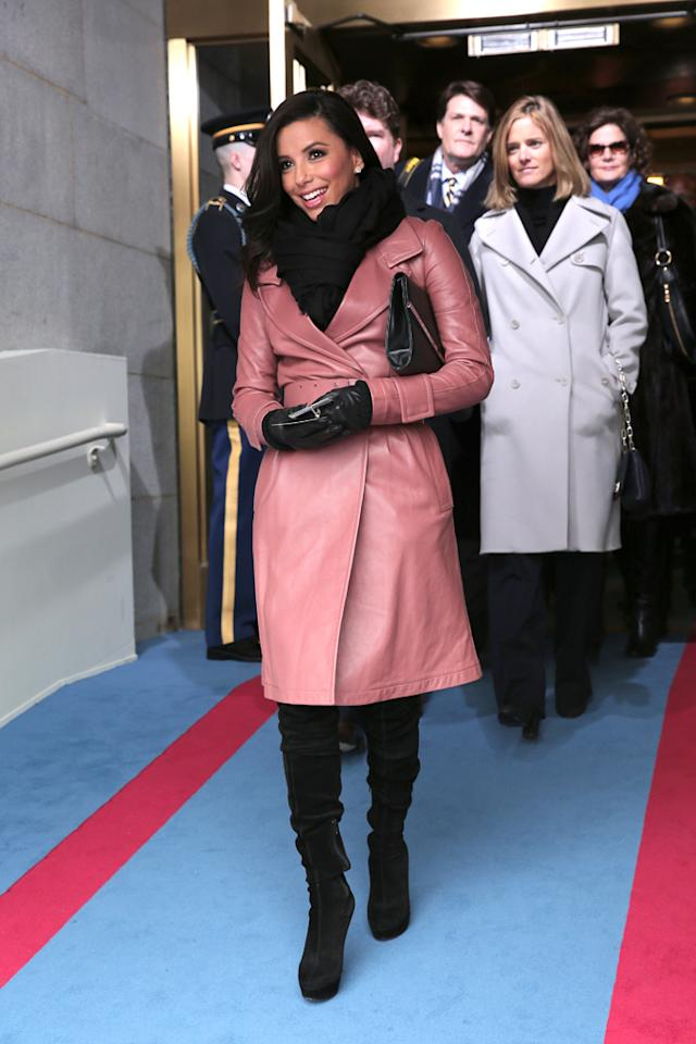 WASHINGTON, DC - JANUARY 21:  Actress Eva Longoria arrives for the presidential inauguration on the West Front of the U.S. Capitol January 21, 2013 in Washington, DC.   Barack Obama was re-elected for a second term as President of the United States.  (Photo by Win McNamee/Getty Images)