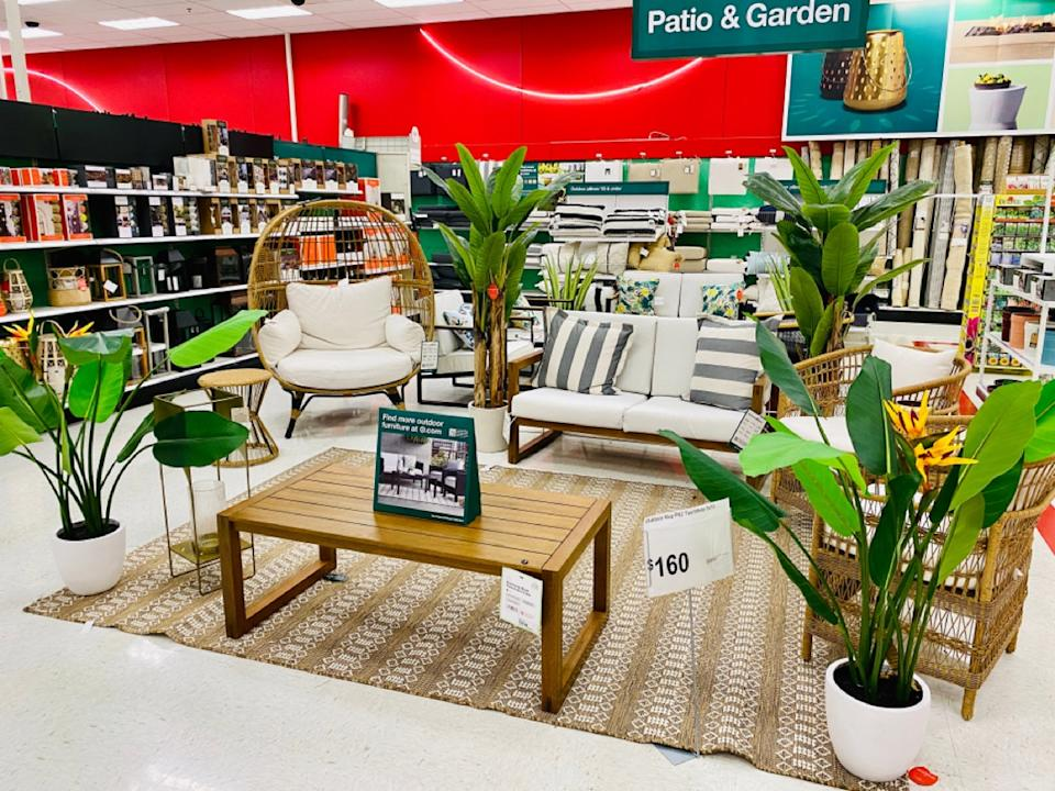 patio furniture on display at target