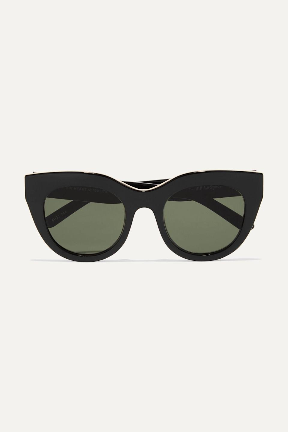 """<p><strong>Le Specs</strong></p><p>net-a-porter.com</p><p><strong>$60.00</strong></p><p><a href=""""https://go.redirectingat.com?id=74968X1596630&url=https%3A%2F%2Fwww.net-a-porter.com%2Fen-us%2Fshop%2Fproduct%2Fle-specs%2Fair-heart-cat-eye-acetate-and-gold-tone-sunglasses%2F1125566&sref=https%3A%2F%2Fwww.townandcountrymag.com%2Fstyle%2Ffashion-trends%2Fg36049858%2Fmeghan-markle-sunglasses%2F"""" rel=""""nofollow noopener"""" target=""""_blank"""" data-ylk=""""slk:SHOP NOW"""" class=""""link rapid-noclick-resp"""">SHOP NOW</a></p><p>Honestly, if you don't add these beauties to your cart, you will most definitely regret it. They're glossy, oversized, and feature black-out lenses which makes 'em the perfect accessory for any 'fit—especially if you're going for the bougie, but on a budget look.</p>"""