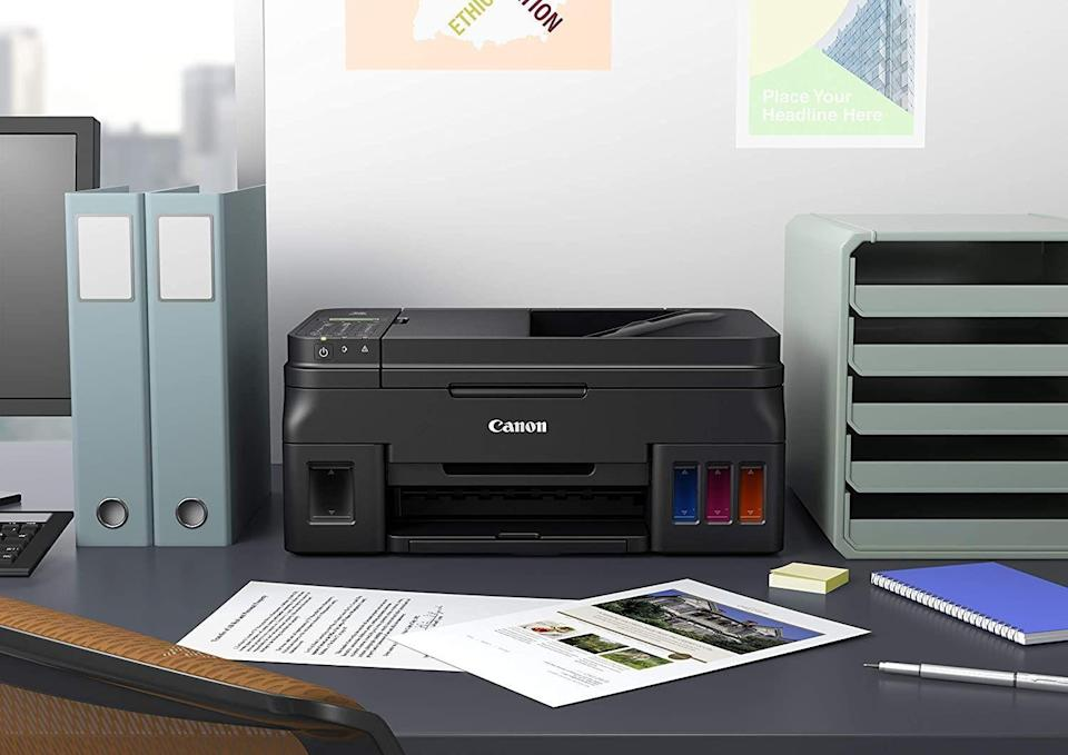 """<p><strong>Pictured: Canon All-In-One InkJet Printer</strong></p><p><strong>$279.99</strong></p><p><a href=""""https://go.redirectingat.com?id=74968X1596630&url=https%3A%2F%2Fwww.walmart.com%2Fip%2FCanon-PIXMA-G4210-Wireless-MegaTank-All-In-One-InkJet-Printer%2F938651399&sref=https%3A%2F%2Fwww.goodhousekeeping.com%2Flife%2Fmoney%2Fg4609%2Fback-to-school-sales%2F"""" rel=""""nofollow noopener"""" target=""""_blank"""" data-ylk=""""slk:Shop Now"""" class=""""link rapid-noclick-resp"""">Shop Now</a></p><ul><li>Get up to <strong>40% off</strong> <a href=""""https://go.redirectingat.com?id=74968X1596630&url=https%3A%2F%2Fwww.staples.com%2Fdeals%2Fsave-big-on-top-tech%2FBI2060795&sref=https%3A%2F%2Fwww.goodhousekeeping.com%2Flife%2Fmoney%2Fg4609%2Fback-to-school-sales%2F"""" rel=""""nofollow noopener"""" target=""""_blank"""" data-ylk=""""slk:printers, laptops, and monitors"""" class=""""link rapid-noclick-resp"""">printers, laptops, and monitors</a> at Staples.</li><li>Save up to <strong>$250 </strong>on <a href=""""https://go.redirectingat.com?id=74968X1596630&url=https%3A%2F%2Fwww.bestbuy.com%2Fsite%2Fall-printers%2Fall-in-one-printers%2Fpcmcat335400050001.c&sref=https%3A%2F%2Fwww.goodhousekeeping.com%2Flife%2Fmoney%2Fg4609%2Fback-to-school-sales%2F"""" rel=""""nofollow noopener"""" target=""""_blank"""" data-ylk=""""slk:all-in-one printers"""" class=""""link rapid-noclick-resp"""">all-in-one printers</a> at Best Buy.</li><li><strong>Save up to $100</strong> on <a href=""""https://www.amazon.com/stores/page/A7745159-7B5C-464B-84B0-2D7C7ABD3FA4?tag=syn-yahoo-20&ascsubtag=%5Bartid%7C10055.g.4609%5Bsrc%7Cyahoo-us"""" rel=""""nofollow noopener"""" target=""""_blank"""" data-ylk=""""slk:Epson printers"""" class=""""link rapid-noclick-resp"""">Epson printers</a>. </li><li><strong>Save up to $300 </strong>on <a href=""""https://www.amazon.com/stores/page/C565BEA8-F3D9-4C1B-8372-85D2A87F2F60?tag=syn-yahoo-20&ascsubtag=%5Bartid%7C10055.g.4609%5Bsrc%7Cyahoo-us"""" rel=""""nofollow noopener"""" target=""""_blank"""" data-ylk=""""slk:Mac notebooks"""" class=""""link rapid-noclick-resp"""">Mac notebooks</a>.</li><li>Take up to <"""