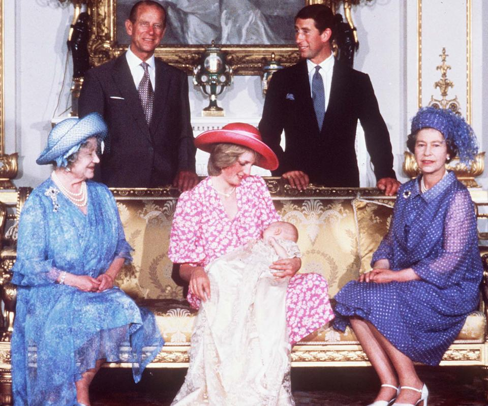 <p>Princess Diana holds Prince William on 4 August 1982, after his christening, in between the Queen and the Queen mother. Prince Charles and the Duke of Edinburgh stand behind them, at Buckingham Palace. (PA/EPA-PA/AFP)</p>