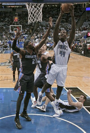 Orlando Magic's Andrew Nicholson (44) takes the ball to the basket past Charlotte Bobcats' Hakim Warrick (21) during the first half of an NBA basketball game, Friday, Jan. 18, 2013, in Orlando, Fla. (AP Photo/John Raoux)