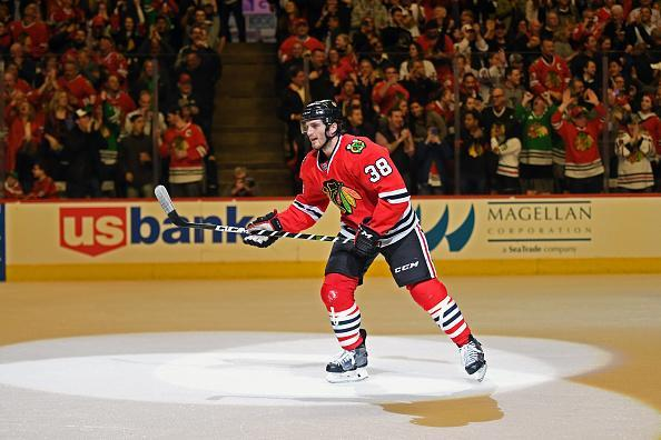 """<a class=""""link rapid-noclick-resp"""" href=""""/nhl/teams/chi/"""" data-ylk=""""slk:Chicago Blackhawks"""">Chicago Blackhawks</a> left wing <a class=""""link rapid-noclick-resp"""" href=""""/nhl/players/6009/"""" data-ylk=""""slk:Ryan Hartman"""">Ryan Hartman</a> celebrates his goal during a game between the <a class=""""link rapid-noclick-resp"""" href=""""/nhl/teams/van/"""" data-ylk=""""slk:Vancouver Canucks"""">Vancouver Canucks</a> and the Chicago Blackhawks on March 21, 2017, at the United Center in Chicago, IL. Canucks won 5-4 in overtime. (Getty Images)"""