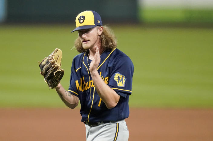 Milwaukee Brewers relief pitcher Josh Hader celebrates after getting St. Louis Cardinals' Paul Goldschmidt to fly out in foul territory for the final out of a baseball game Saturday, Sept. 26, 2020, in St. Louis. The Brewers won 3-0. (AP Photo/Jeff Roberson)