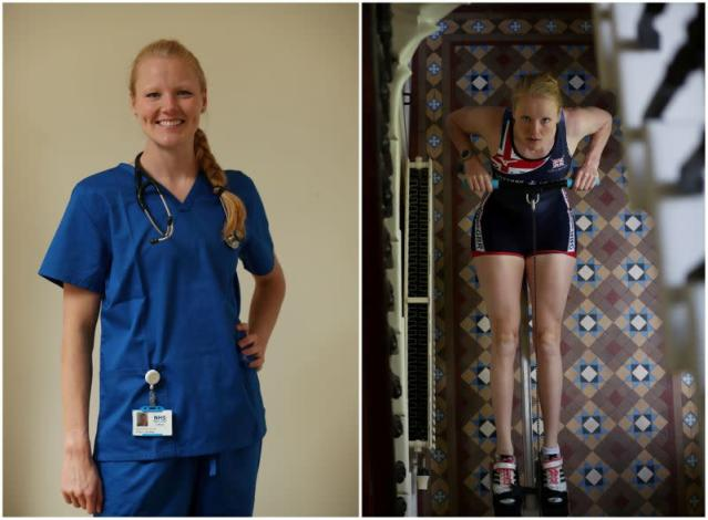 A combination picture shows Polly Swann, Team GB rower and NHS worker, as she poses in scrubs and at her parents' home training, in Edinburgh