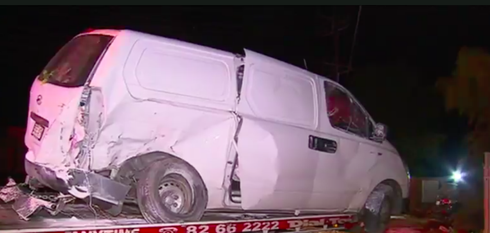 The driver crashed into a van before hitting the house. Source: 7 News
