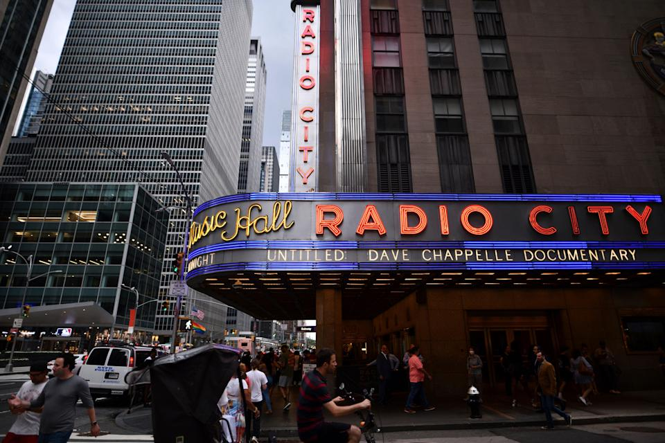 Radio City Music Hall's marquee advertises Dave Chappelle's documentary during the closing night of the 20th Tribeca Festival on Saturday in New York.
