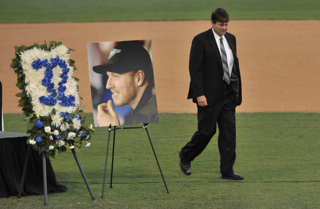 Roy Halladay Jr. at his son's memorial service on Nov. 14. (AP)