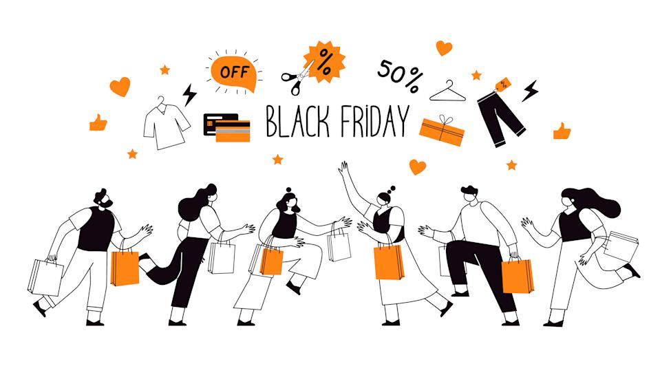 Black Friday Sale Event. Flat People Characters with Shopping Bags. Big Discount, Promo Concept, Advertising Poster, Banner.