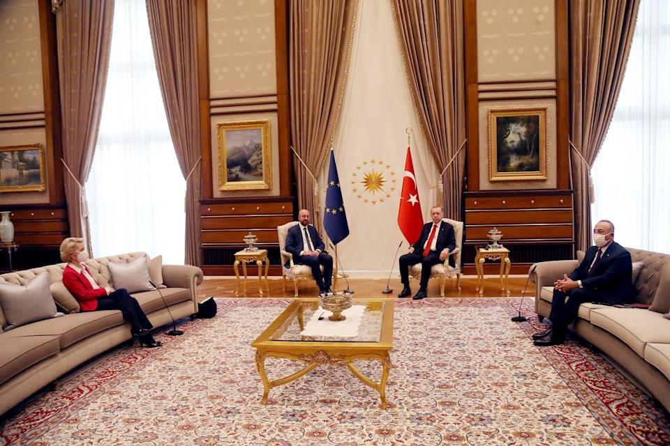 ANKARA, April 6, 2021 -- Turkish President Recep Tayyip Erdogan 2nd R meets with European Council President Charles Michel 2nd L and European Commission President Ursula von der Leyen 1st L in Ankara, Turkey, on April 6, 2021. Top officials of the European Union on Tuesday expressed readiness to work on concrete agenda with Turkey to push forward economy and migration cooperation between the two sides. (Photo by Mustafa Kaya/Xinhua via Getty) (Xinhua/Mustafa Kaya via Getty Images) (Photo: Xinhua News Agency via Xinhua News Agency/Getty Images)