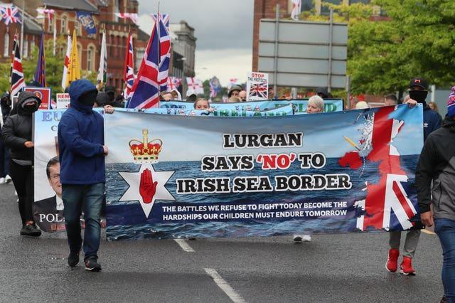 Loyalists take part in an anti-Northern Ireland Protocol rally in Portadown, Co Armagh on Saturday