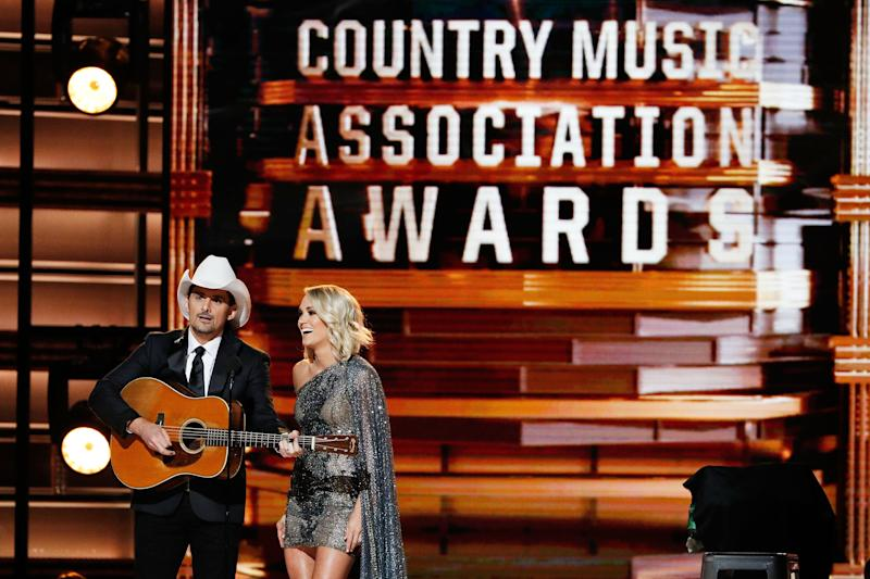 Brad Paisley and Carrie Underwood appear onstage at the 2016 CMA Awards. (Taylor Hill via Getty Images)