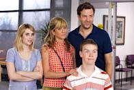 "<p>David (Jason Sudeikis) hires Rose (Aniston) to pretend to be his wife, with Will Poulter and Emma Roberts as their kids, on a drug smuggling road trip to Mexico. They meet several wacky characters along the way, including the incomparable Katherine Hanh and Nick Offerman who bring extra laughs in this deceptively heartwarming comedy.<br></p><p><a class=""link rapid-noclick-resp"" href=""https://go.redirectingat.com?id=74968X1596630&url=https%3A%2F%2Fitunes.apple.com%2Fus%2Fmovie%2Fwere-the-millers-2013%2Fid687505681&sref=https%3A%2F%2Fwww.redbookmag.com%2Flife%2Fg36311626%2Fjennifer-aniston-movies-list%2F"" rel=""nofollow noopener"" target=""_blank"" data-ylk=""slk:WATCH NOW"">WATCH NOW</a></p>"