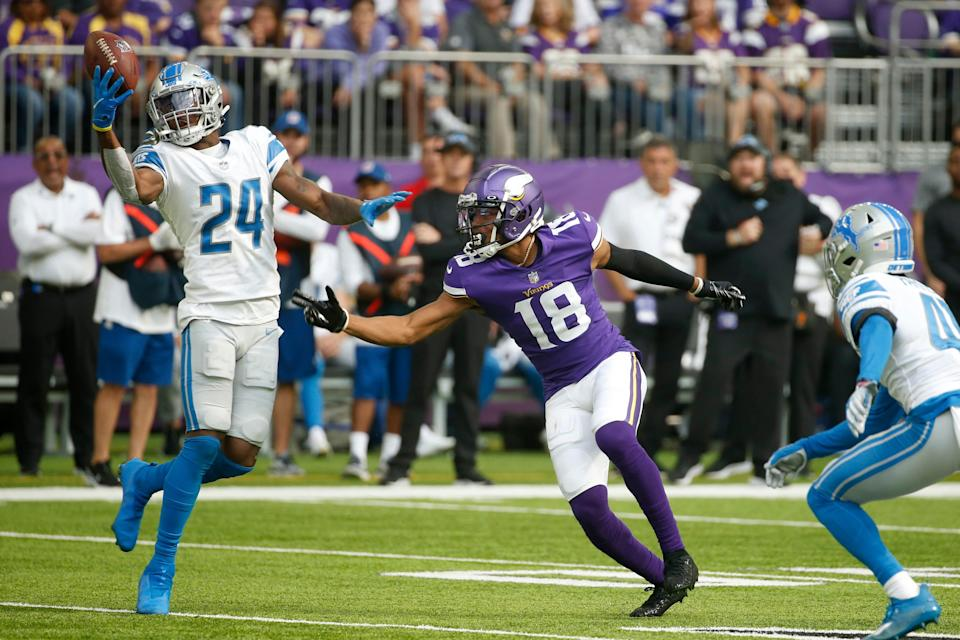 Lions cornerback Amani Oruwariye breaks up a pass intended for Vikings wide receiver Justin Jefferson during the first half on Sunday, Oct. 10, 2021, in Minneapolis.