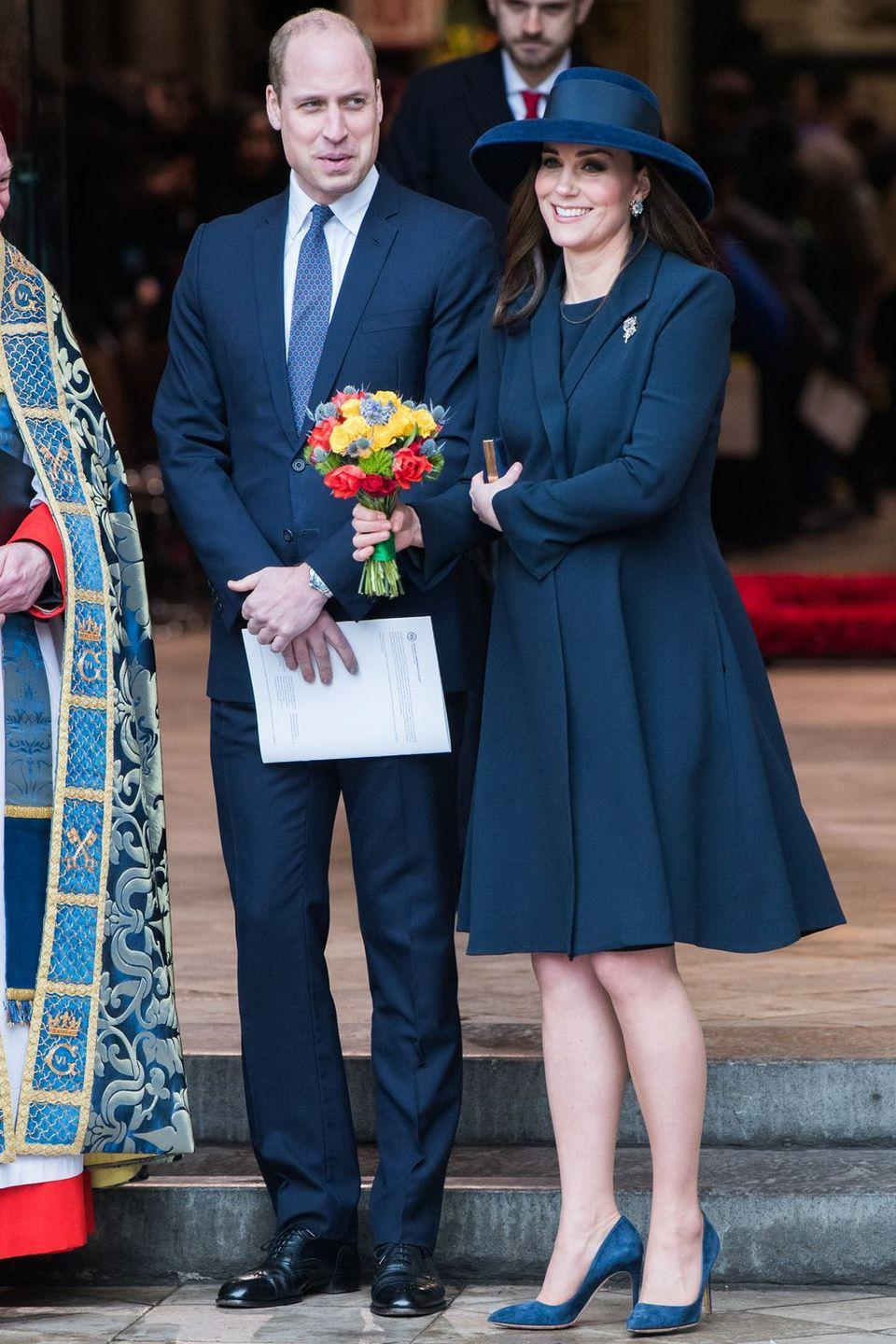 <p>It was all-blue for the duchess in a Beulah London dress and coat set at the Commonwealth Day service. </p>