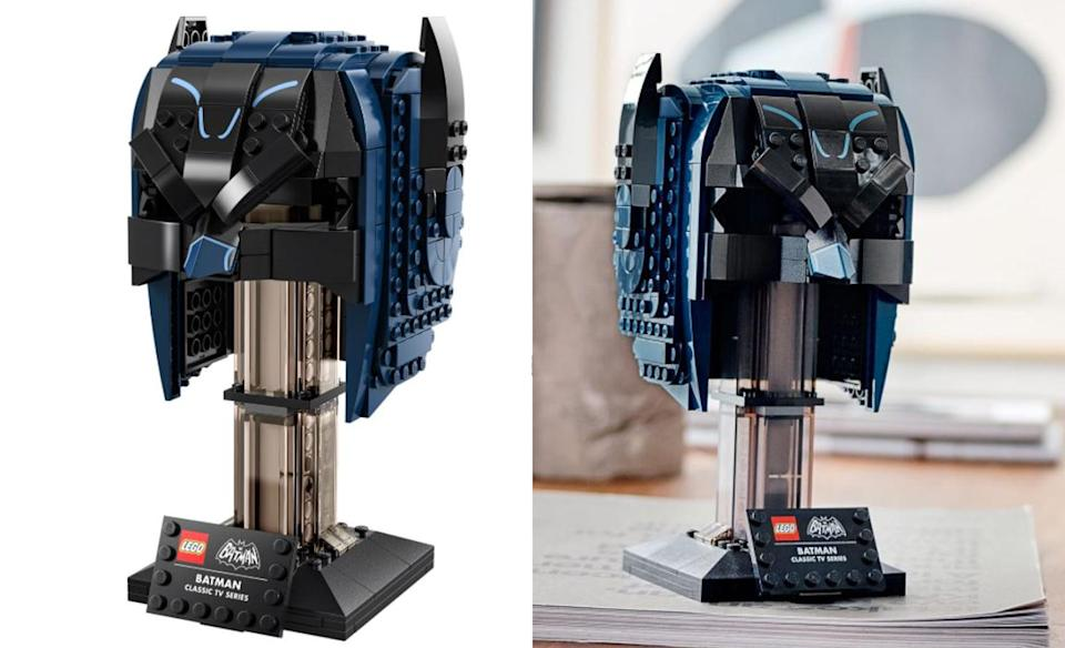 Two views of the new Batman Classic TV Series Cowl set from LEGO