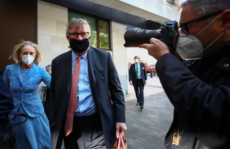 FILE PHOTO: Britain's Crispin Odey arrives at Westminster Magistrates Court in London
