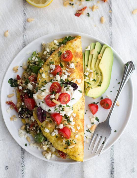 This hearty omelet filled with classic Greek flavors is perfect for those with bigger appetites.