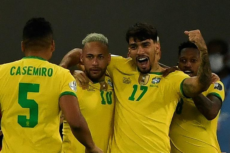 Brazil's Lucas Paqueta celebrates with teammates after scoring the lone goal in Brazil's 1-0 victory over Chile in the Copa America quarter-finals