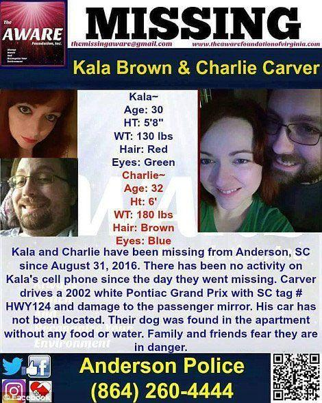 The 'missing' poster for Brown and her boyfriend Charles Carver. Brown is said to have watched as Carver was allegedly murdered by Kohlhepp in front of her. Source: Supplied.