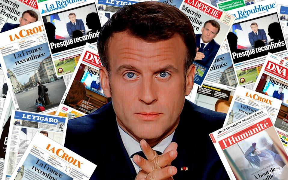 Macron and France front pages about lockdown