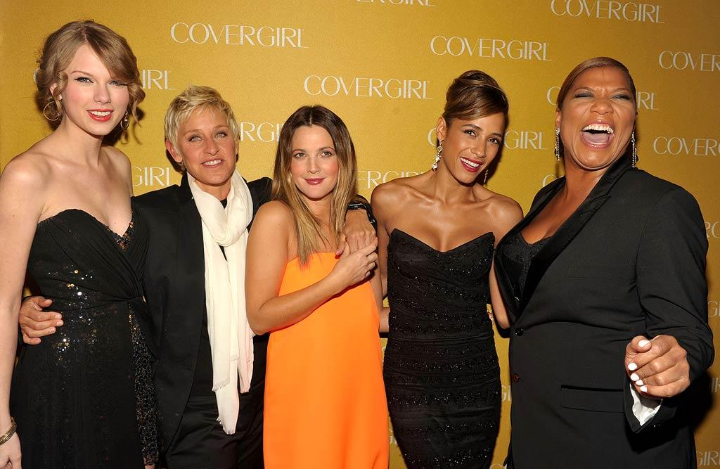 "Though the brand's most famous representative, Christie Brinkley, wasn't in attendance, CoverGirl's current spokesmodels -- Taylor Swift, Ellen DeGeneres, Drew Barrymore, Dania Ramirez, and Queen Latifah -- were easy, breezy, and beautiful upon arriving at the beauty brand's 50th Anniversary celebration at BOA Steakhouse in West Hollywood Wednesday night. John Shearer/<a href=""http://www.wireimage.com"" target=""new"">WireImage.com</a> - January 5, 2011"
