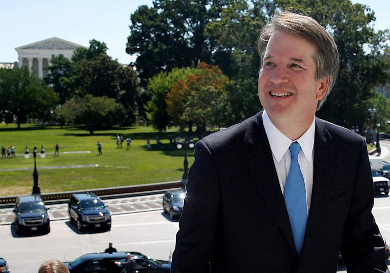 Supreme Court building in the background Supreme Court nominee judge Brett Kavanaugh arrives prior to meeting with Senate Majority Leader Mitch Mc Connell on Capitol Hill in Washington U.S