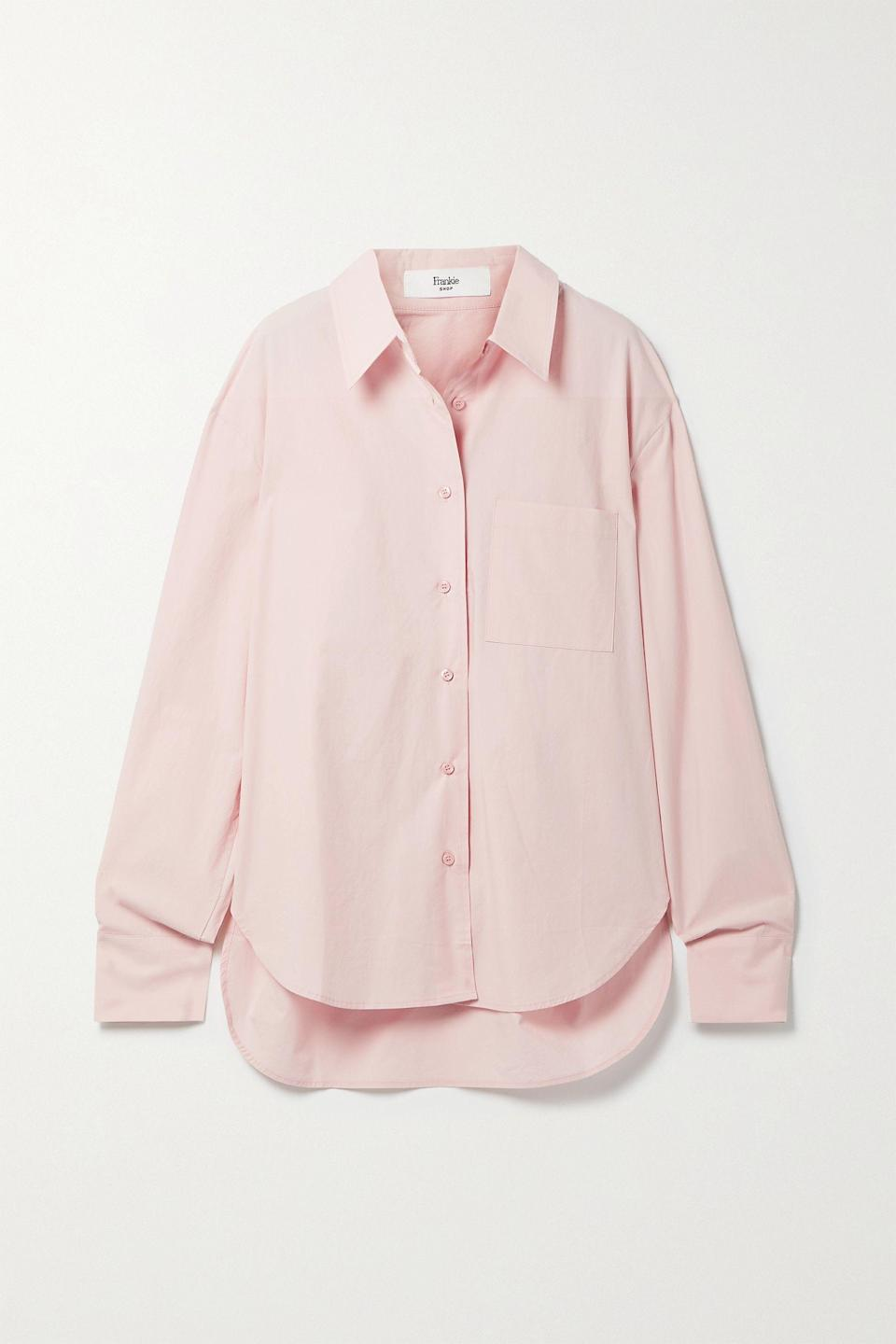"""<p><strong>Frankie Shop</strong></p><p>net-a-porter.com</p><p><strong>$185.00</strong></p><p><a href=""""https://go.redirectingat.com?id=74968X1596630&url=https%3A%2F%2Fwww.net-a-porter.com%2Fen-us%2Fshop%2Fproduct%2Ffrankie-shop%2Fclothing%2Fshirts%2Flui-organic-cotton-poplin-shirt%2F20346390235439863&sref=https%3A%2F%2Fwww.harpersbazaar.com%2Ffashion%2Ftrends%2Fg37184495%2Foversize-button-down-shirts%2F"""" rel=""""nofollow noopener"""" target=""""_blank"""" data-ylk=""""slk:Shop Now"""" class=""""link rapid-noclick-resp"""">Shop Now</a></p><p>Sometimes, influencer-beloved items aren't worth the hype. Purchasing Frankie Shop's Liu shirt isn't one of those times. The brand's cotton poplin is lighter than air, while its high-low hem is made for a subtle French tuck. Just don't forget the matching boxer shorts.</p>"""