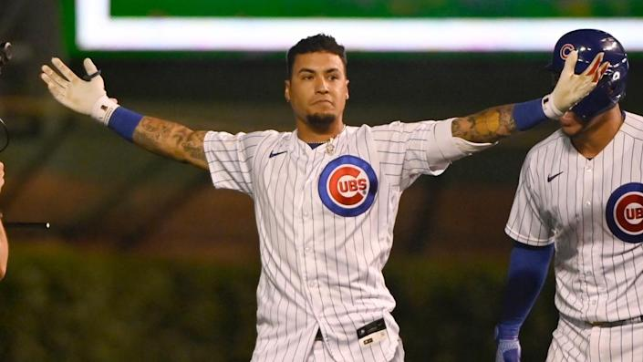 Javier Baez Cubs arms outstretched after walkoff July 2021