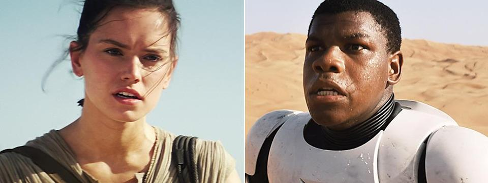 """<p>Daisy Ridley and John Boyega are standouts in the film as Rey and Finn, but the epic casting searches took in plenty of other names too. Saoirse Ronan confirmed she'd auditioned for the female lead, while <a href=""""http://www.hollywoodreporter.com/news/star-wars-vii-cast-how-699964"""" rel=""""nofollow noopener"""" target=""""_blank"""" data-ylk=""""slk:Dev Patel,"""" class=""""link rapid-noclick-resp"""">Dev Patel,</a><i> Fargo</i> and <i>Friday Night Lights </i>star <a href=""""http://www.thewrap.com"""" rel=""""nofollow noopener"""" target=""""_blank"""" data-ylk=""""slk:Jesse Plemons"""" class=""""link rapid-noclick-resp"""">Jesse Plemons</a>, and <i>Transformers</i>' <a href=""""http://www.aintitcool.com/node/66222"""" rel=""""nofollow noopener"""" target=""""_blank"""" data-ylk=""""slk:Jack Reynor"""" class=""""link rapid-noclick-resp"""">Jack Reynor</a> were reportedly down to the last few for Finn. (Photo: Everett Collection)</p>"""