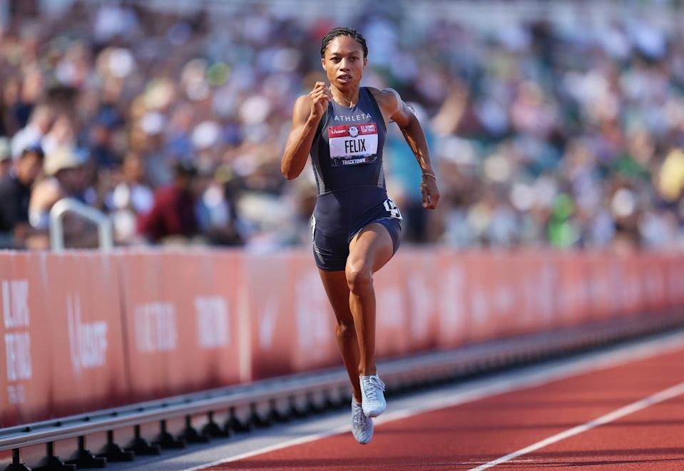 EUGENE, OREGON - JUNE 25: Allyson Felix competes in the Women' 200 Meters Semi-Finals during day eight of the 2020 U.S. Olympic Track & Field Team Trials at Hayward Field on June 25, 2021 in Eugene, Oregon. (Photo by Patrick Smith/Getty Images)