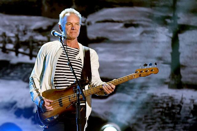 <p>Sting performs onstage during the 60th Annual Grammy Awards at Madison Square Garden on January 28, 2018, in New York City. (Photo: Getty Images) </p>