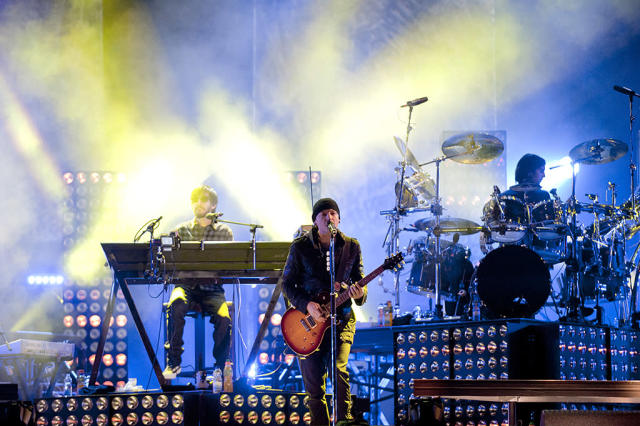 <p>Mike Shinoda, Chester Bennington and Rob Bourdon of Linkin Park perform live on stage at Puerta de Alcala on November 7, 2010 in Madrid, Spain. (Photo by Jordi Vidal/Getty Images) </p>