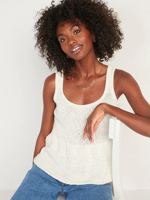 <p>Wear this <span>Old Navy Sleeveless Textured Peplum-Hem Sweater</span> ($21, originally $30) tank on its own when it's warm and then under a blazer once fall hits.</p>