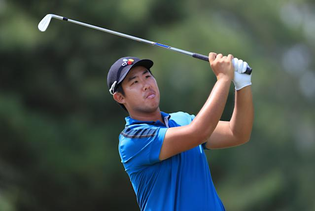 """<h1 class=""""title"""">Sanderson Farms Championship - Round Two</h1> <div class=""""caption""""> JACKSON, MISSISSIPPI - SEPTEMBER 20: Byeong Hun An of Korea plays his shot on the 13th hole during the second round of the Sanderson Farms Championship at The Country Club of Jackson on September 20, 2019 in Jackson, Mississippi. (Photo by Sam Greenwood/Getty Images) </div> <cite class=""""credit"""">Sam Greenwood</cite>"""