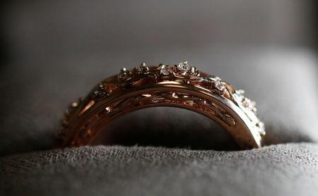 Wedding ring made from Welsh Gold is seen on display at Clogau in Bodelwyddan