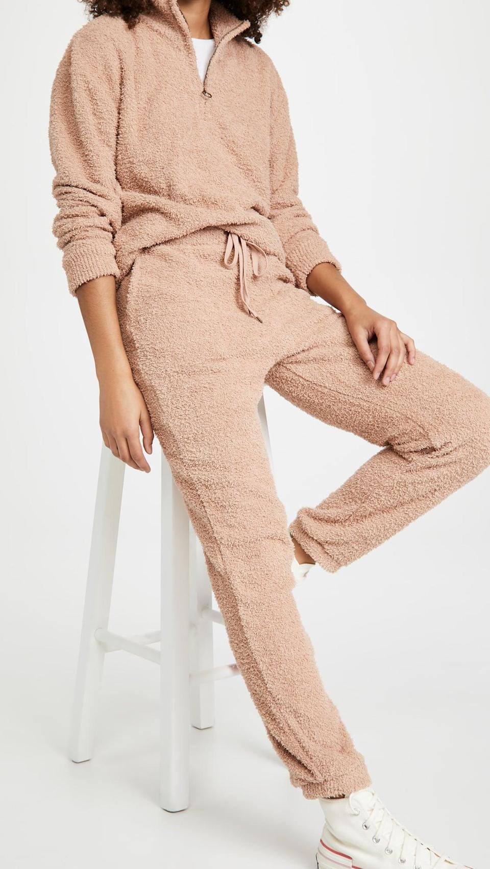 <p>They can stay cozy in this plush <span>Honeydew Intimates Comfort Queen Half Zip Pullover</span> ($64) and <span> Joggers </span> ($54) set.</p>