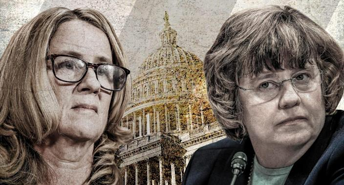 Christine Blasey Ford and Phoenix prosecutor Rachel Mitchell (Yahoo News photo Illustration; photos: Michael Reynolds/AP, Andrew Harnik/AFP/Getty Images)