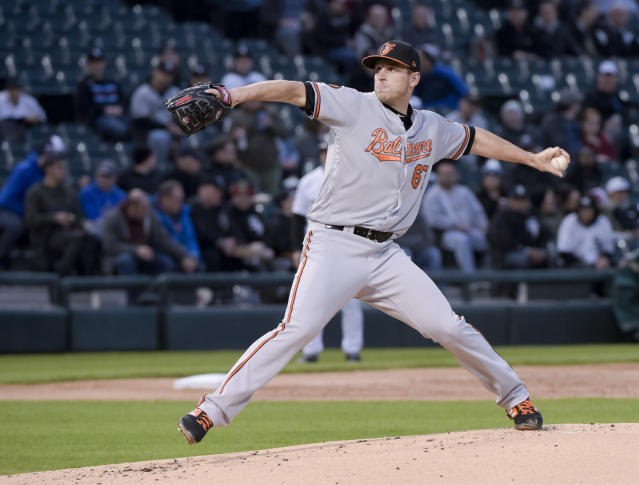 Baltimore Orioles pitcher John Means throws against the Chicago White Sox in the first inning of a baseball game Monday, April 29, 2019, in Chicago. (AP Photo/Mark Black)