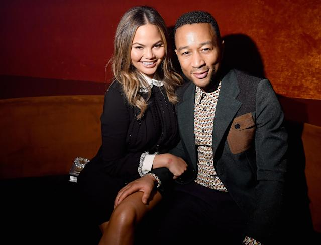 Chrissy Teigen and John Legend in Paris, October 2017.