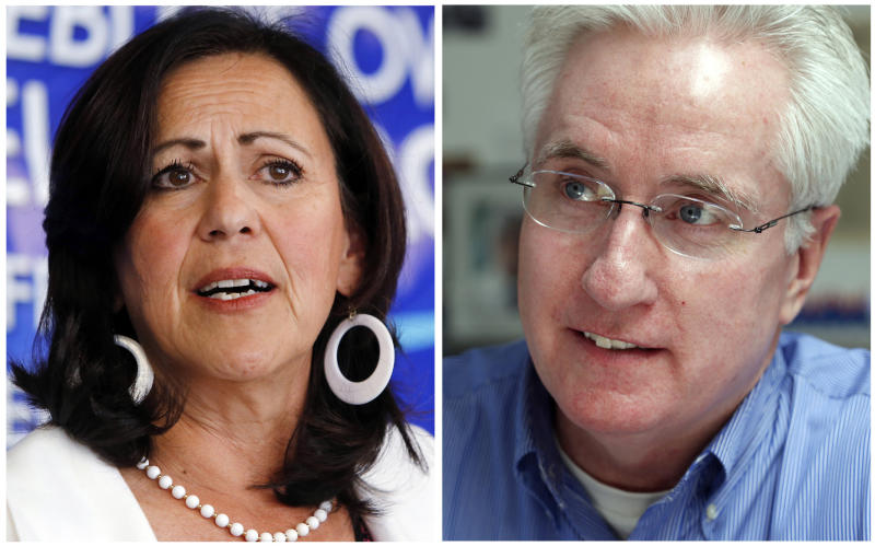 FILE - These photo combo of 2013 file photos shows state Sens. Angela Giron, D-Pueblo, and John Morse, D-Colorado Springs, who are facing recall elections, Tuesday, Sept. 10, 2013, in a battle that has attracted major players from around the nation, reflecting the sustained intensity over the issue of gun rights. (AP Photo/Ed Andrieski, File)