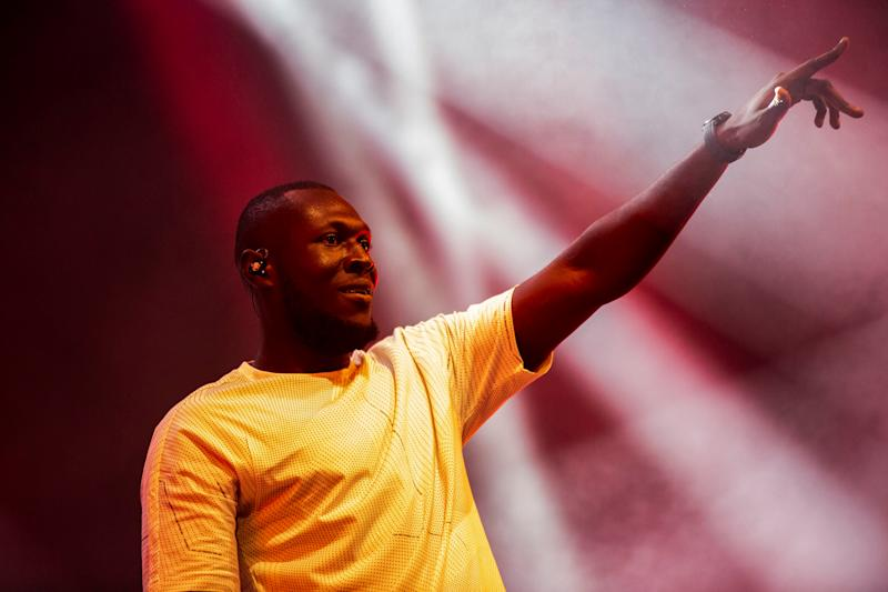 British rapper Stormzy performs at the Arena Stage during the Roskilde Festival 2018 in Roskilde, Denmark, July 5, 2018. Picture taken July 5, 2018. Ritzau Scanpix/Olafur Steinar Gestsson via REUTERS ATTENTION EDITORS - THIS IMAGE WAS PROVIDED BY A THIRD PARTY. DENMARK OUT.