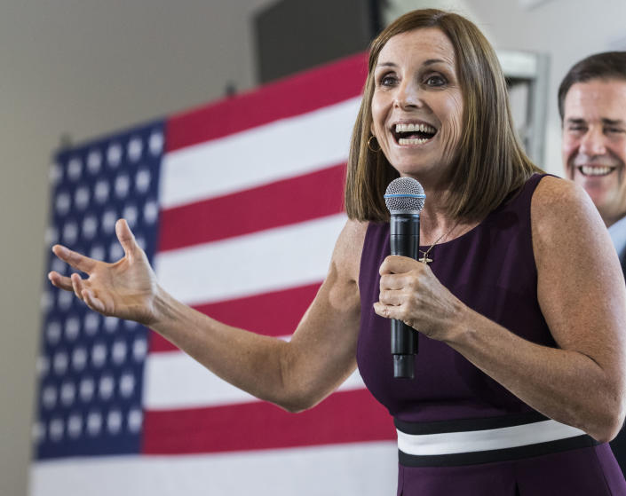 McSally addresses her constituents during a rally in Gilbert, Ariz., on Oct. 12, 2018. (Photo: Darryl Webb/AP)