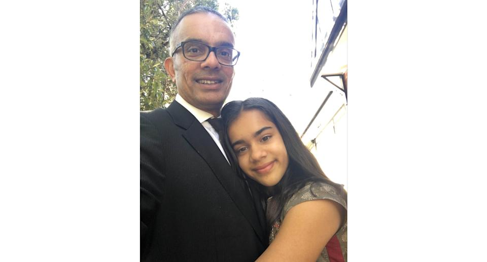 A photo of Raj Wilson and his daughter Yasmin, who tragically took her own life in 2019. Source: Supplied