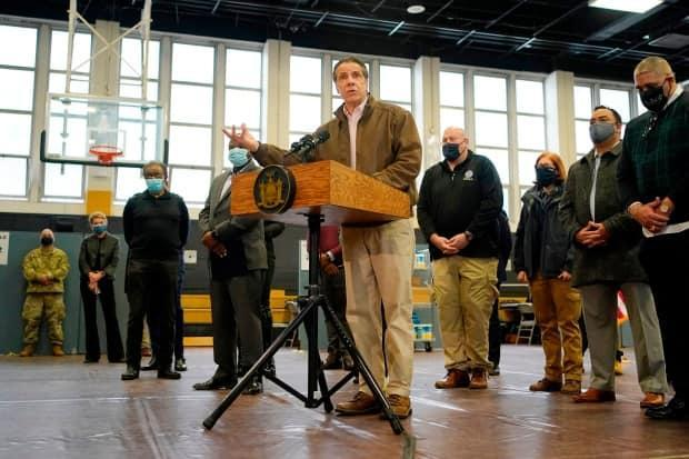 Cuomo speaks during a news conference at a vaccination site in the Brooklyn borough of New York on Feb. 22. Critics say Cuomo likes to project strength in times of crisis but is too controlling of information.