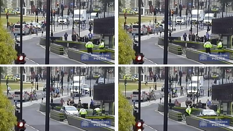 CCTV footage of the moment Salih Khater drove a silver Ford Fiesta at cyclists before crashing into barriers outside the Houses of Parliament (Picture: PA)