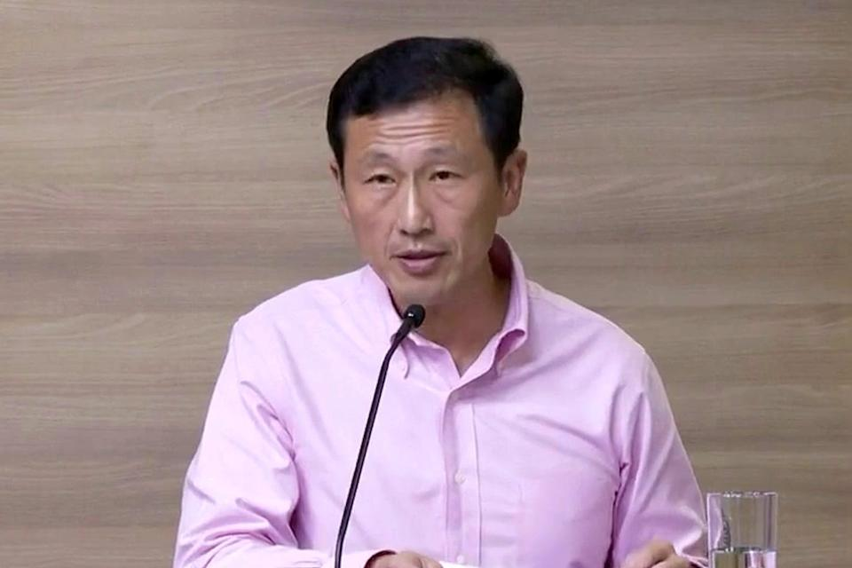 Minister Ong Ye Kung speaking at the multi-ministry taskforce press conference on Friday (3 April). (Photo: Yahoo News Singapore/Dhany Osman)