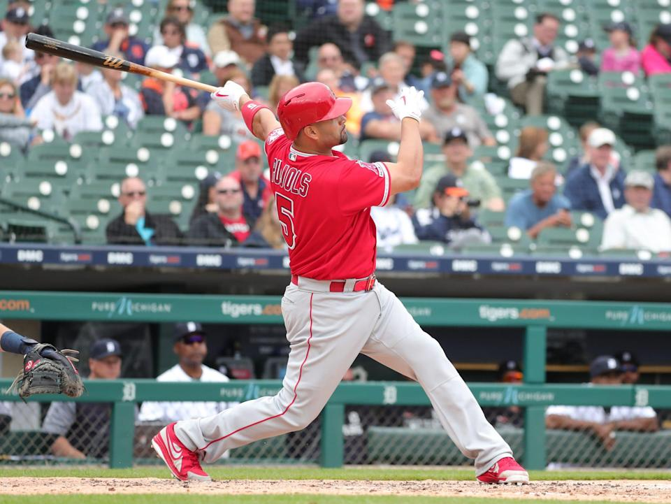 Angels first baseman Albert Pujols gets his 2000th RBI on a homer against Tigers pitcher Ryan Carpenter during the third inning on Thursday, May 9, 2019, at Comerica Park.